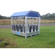 Firkantbox– Foderhæk/foderbord med kirkestole til heste